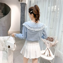 2019 new womens shirt lace doll collar long-sleeved solid color sweet lapel stretch