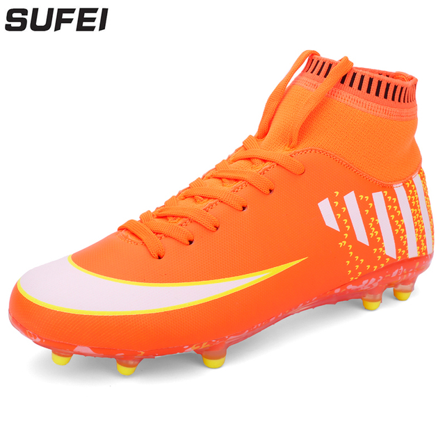f00563d0c sufei New Men Soccer Shoes FG High Ankle Superfly Football Boots Outdoor  Training Sport Socks Cleats Trainers