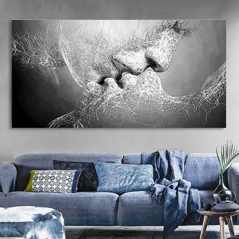 New Fashion Black & White Love Kiss Abstract Art on Canvas Painting Poster Wall Art Picture Print Home Living Room Wall Decor
