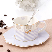 [Octagon Series] European bone china coffee cup and saucer set Afternoon tea ceramic cup saucer Home spot wholesale