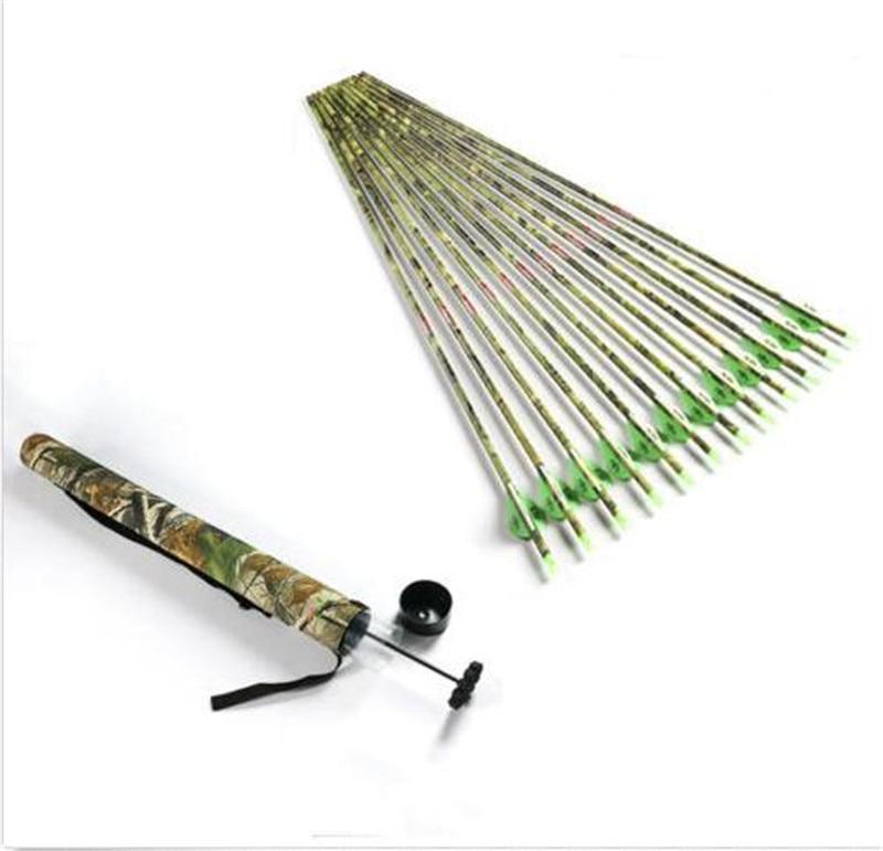 12Pcs/Lot Archery Spine400 Camo Carbon Arrows 2''Blazer Vane Bohning Nocks +1pcs Arrow Holder Tube for Compund Arrow Shooting 10 spine 300 carbon shaft 10 spine340 carbon arrow shaft 50 insert 50 100gr point 150 blazer vane archery bow