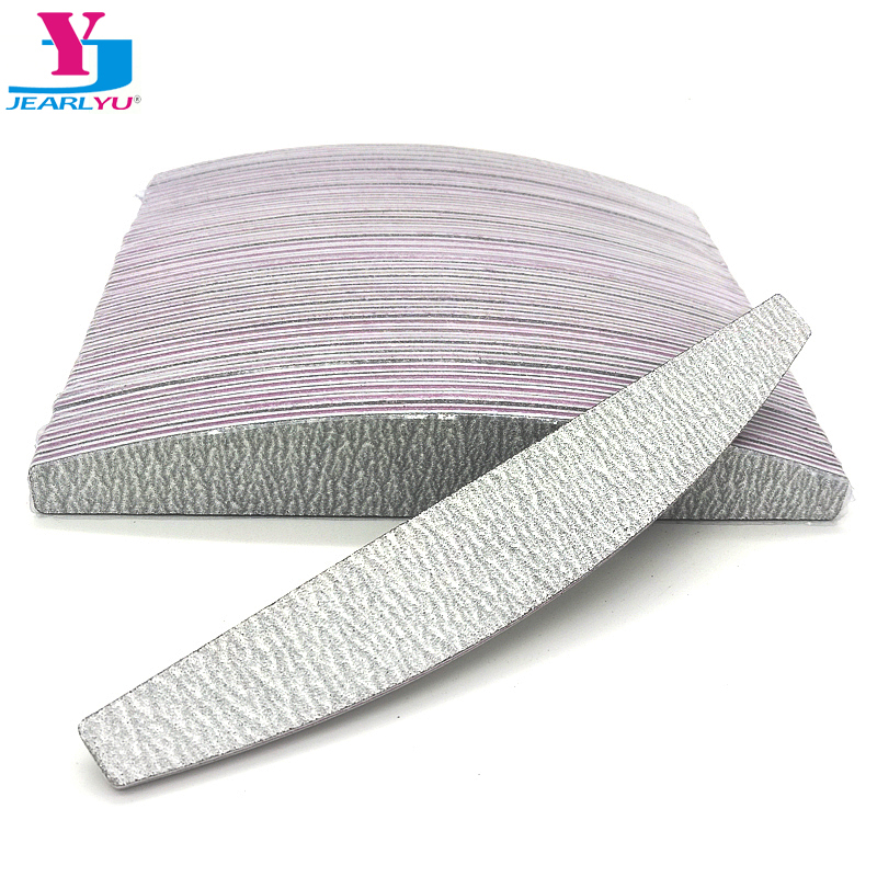 купить 50pcs Nail Files Sanding 100/180 Grey Curve Banana Style Nail Art Tips Zebra Manicure Tools UV Gel Polisher Sandpaper Buffer по цене 993.44 рублей