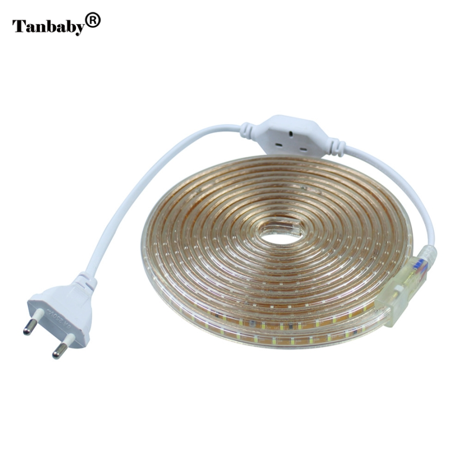 Tanbaby 1Set AC 220V 3014 SMD LED Strip tape light 120leds/m Silicone Tube Waterproof 1M/2M/3M/4/5/6/7/8/9/10/15/20M +Power Plug