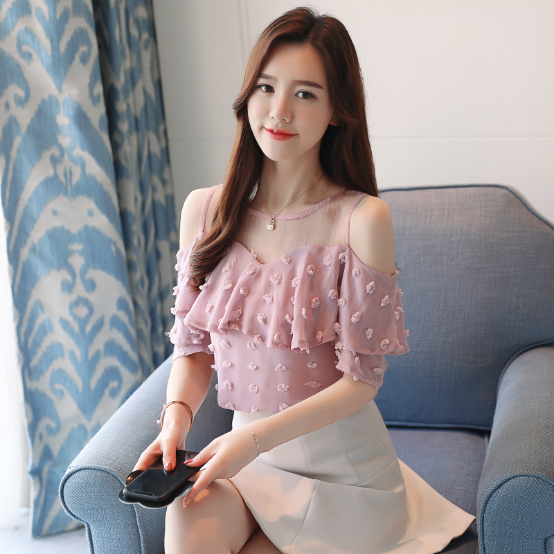 Hombro Nuevo La Camisas Gasa Ondulado Slim 40 Camisa 0642 Encaje Pink Volantes De Moda Las Blusas 2018 Mujeres blanco Corte Casual Manga Verano Con rwqvS0r6