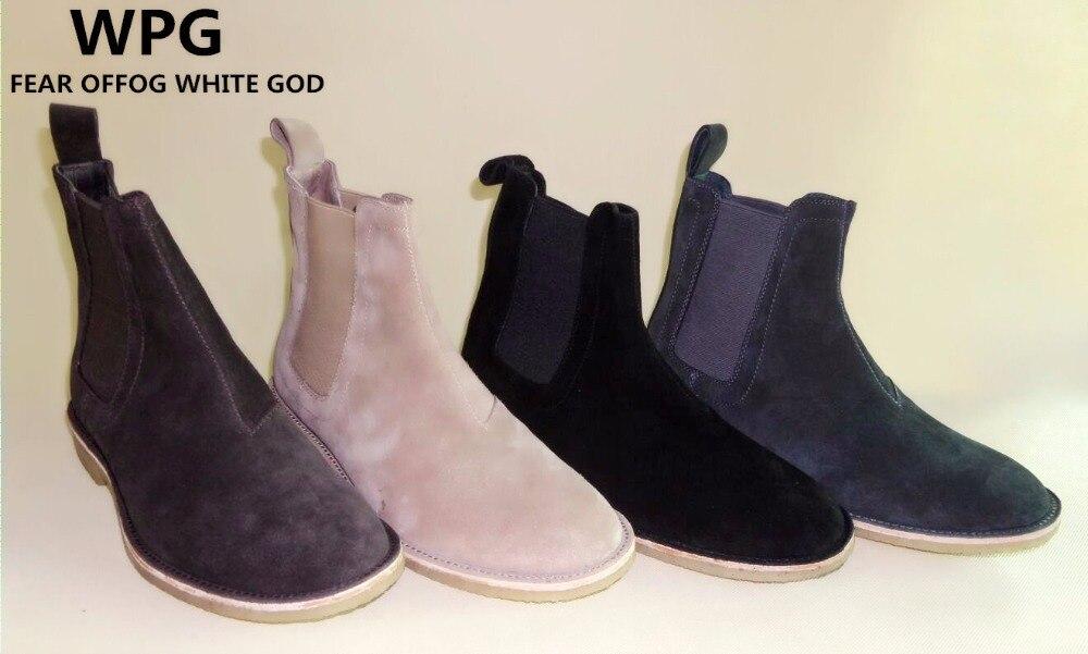 Новинка 2017 года, стильное Винтаж мужчин мужские ботинки челси кожа хаки/серый/коричневый/черный, темно-синий обувь загрузки