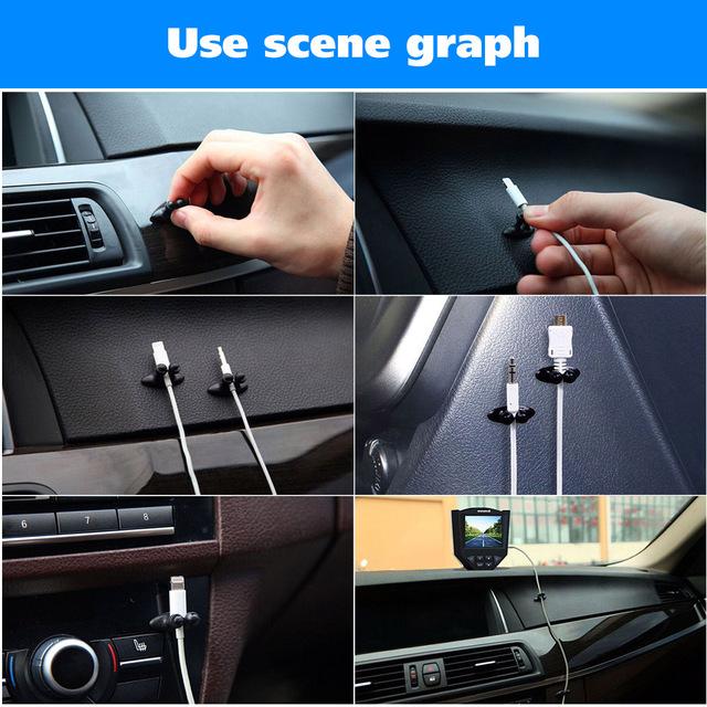 Car Accessories 8pcs Car Adhesive Wire Cord Clip Cable Holder Tie Fixer Line Organizer Drop