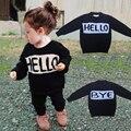 2016 nueva marca BEBE niños que hacen punto suéter Kawaii niño niña punto HELLO kitty impresa letra Sweaters infantil otoño ropa suelta