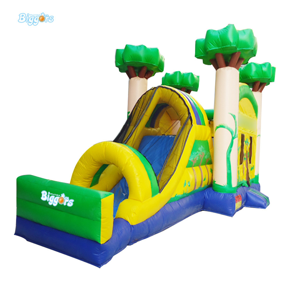 Free Shipping By Sea Tropical Inflatable Jumping Castle Jumper Bounce Castle Slide Combo With Blowers цена