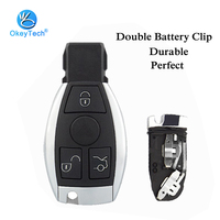 OkeyTech Keyless Car Smart Key Card Shell with Insert Uncut Blade 3 3+1 Button Fob Case Cover for Mercedes Benz 2 Battery Holder