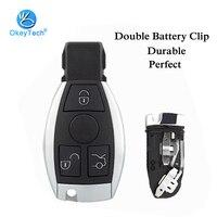 OkeyTech-carcasa de tarjeta de llave inteligente de coche sin llave, carcasa con hoja de inserción sin cortar, 3, 3 + 1, botón Fob, funda para Mercedes Benz 2, soporte de batería