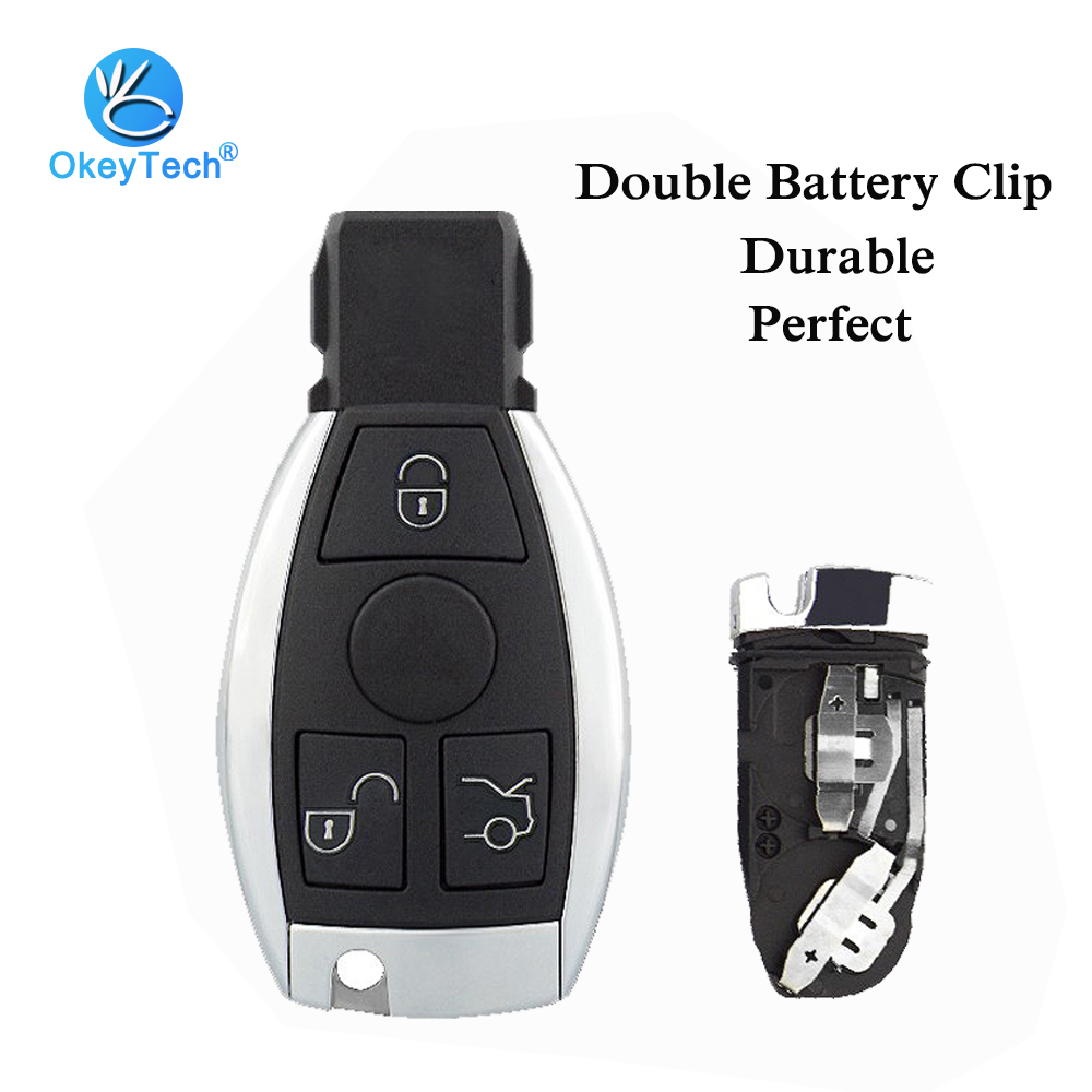 OkeyTech Keyless Car Smart <font><b>Key</b></font> Card Shell with Insert Uncut Blade 3 3+1 Button Fob Case Cover for <font><b>Mercedes</b></font> Benz 2 Battery Holder image
