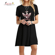 2QIMU 2019 New Cartoon Print Female Dress Summer Simple Short Sleeve O-Neck Women A-Line Casual Knee-Length Sexy