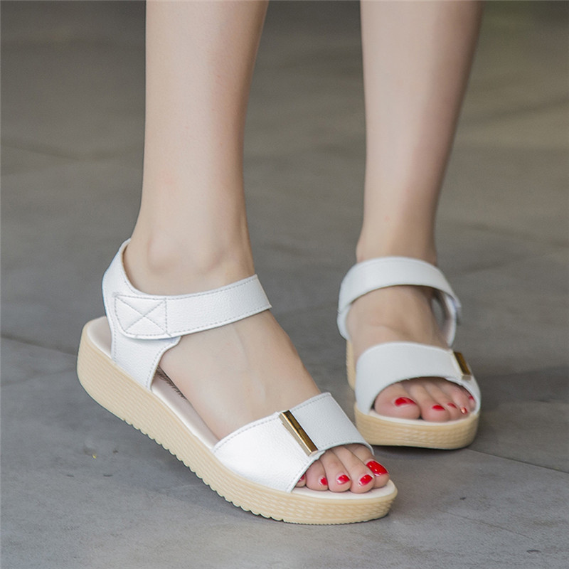 Fashion Women Sandals Female Summer Casual Flat Shoes Muffin Bottom Round New Edition Flat With Thick Bottom Sandals #3  han edition diamond thick bottom female sandals 2017 new summer peep toe fashion sandals prevent slippery outside wear female