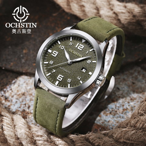 OCHSTIN Man Mechanical Pilot Wrist Watches For Men Luxury Casual Self Winding Leather Mechanic Male Clock Date relogio masculino Lahore