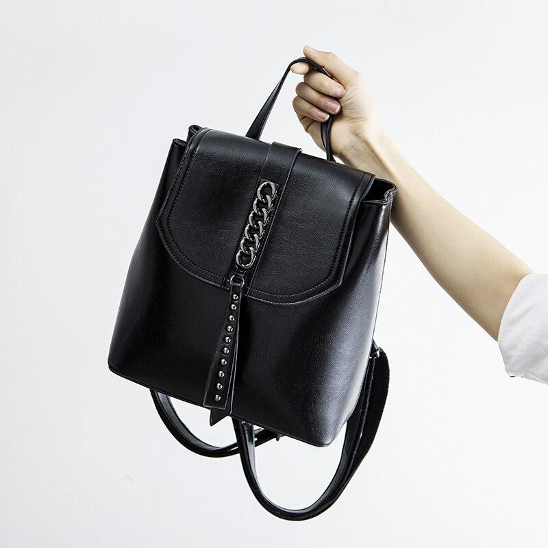 Модные рюкзак с цепочкой масло воск кожа коровы Ins черный Цвет рюкзаки женские путешествия покупки Повседневное сумка маленький школьный рюкзак книжный пакет - 4