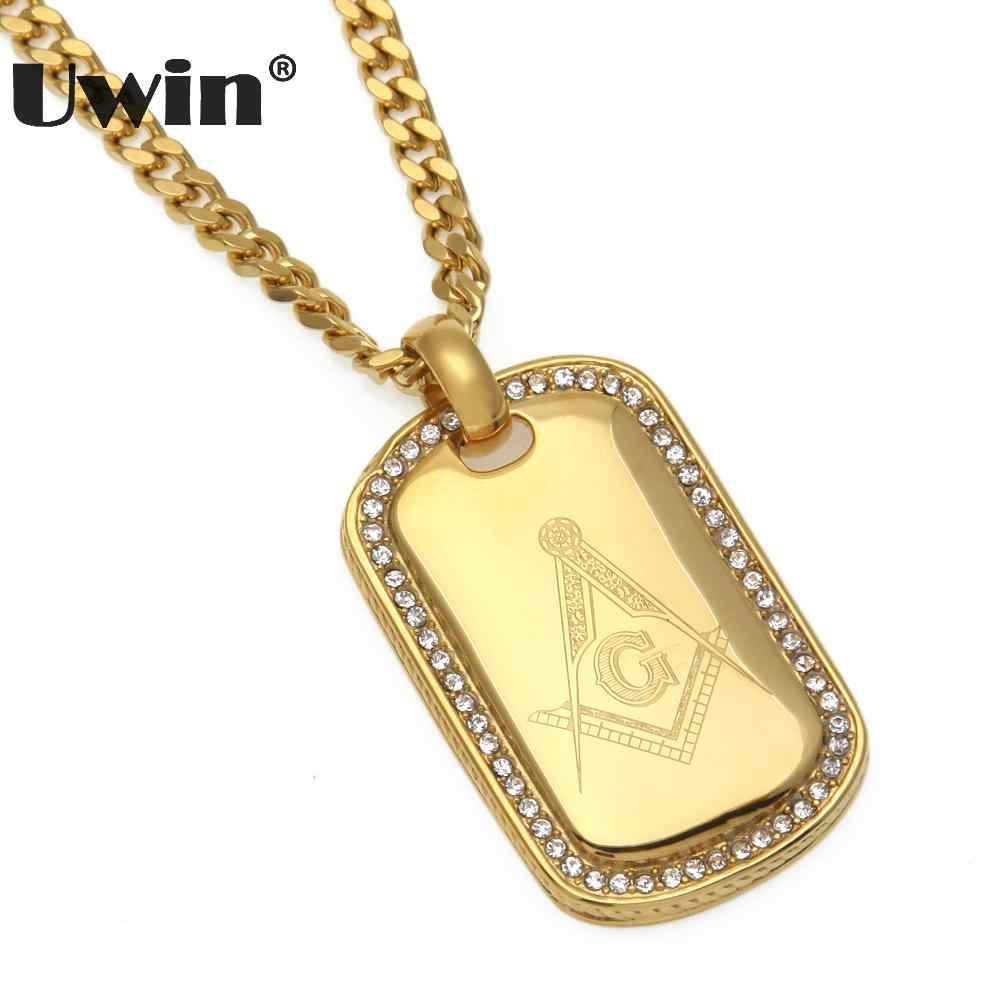Uwin Hip-Hop Masonik Simbol Liontin Kalung Stainless Steel Warna Emas Freemasonry Masonik Mason Anjing: Perhiasan Drop Pengiriman