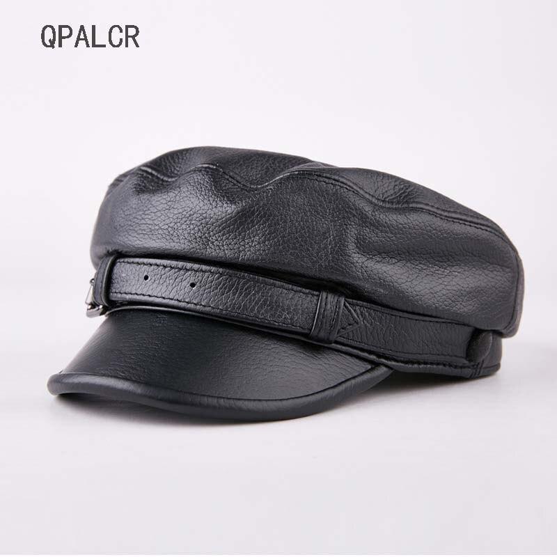 QPALCR haute qualité plat militaire casquette chapeau femme hiver chapeaux femmes hommes dames armée militaire chapeau en cuir véritable marin chapeau os