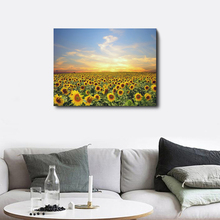Spring Blooming Sunflowers Sunshine Blue Sky Canvas Wall Artwork Modern Oil Painting For Home Living Room Decoration Pictures