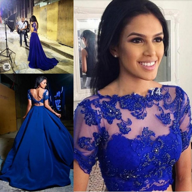 18e56b788bb6 Royal Blue Lace Prom Dresses A-Line Satin Short Sleeves Open Back Formal  Evening Party Gowns 2 Piece Graduation Dress F809