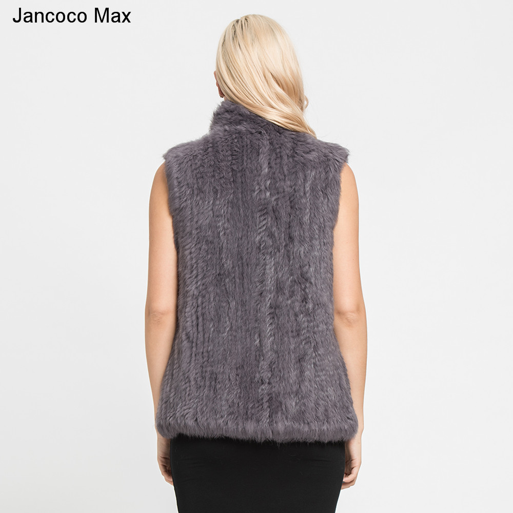 Mode Réel Tricoté Fourrure Hiver Femmes Gilet Chaud Beige Style Top Qualité Veste Max S7095 2019 grey Manteau Jancoco black Lapin En De Épais txwq0vY7