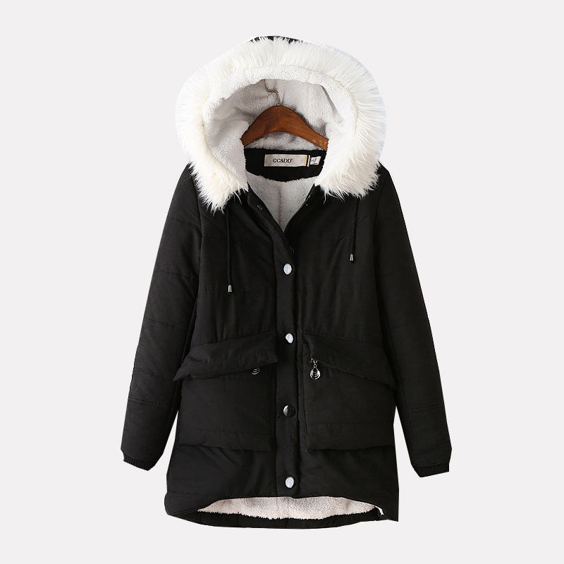 Women Coat 2016 Winter Jackets Thick Slim Hooded Fur Collar