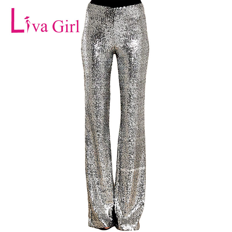 LIVA GIRL Sequin Trousers Wide Leg Long Pants Silver Sparkle Women Elastic High Waist Flare Legs Dance Pantalones Cintura Alta