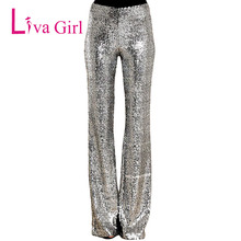 LIVA GIRL Sequin Trousers Wide Leg Long Pants Silver Sparkle Women Elastic High Waist Flare Legs Dance Pantalones Cintura Alta