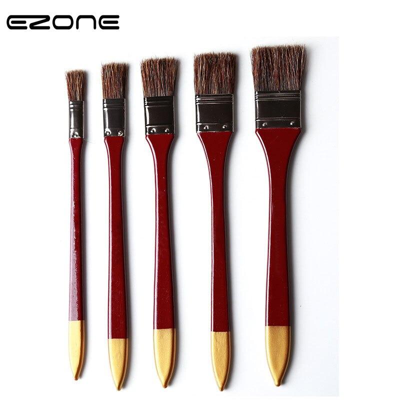EZONE Creative Painting Brush Wild Boar Bristle Brushes Oil Watercolor Acrylic Painting Pen Flat Peak Brush Student Stationery