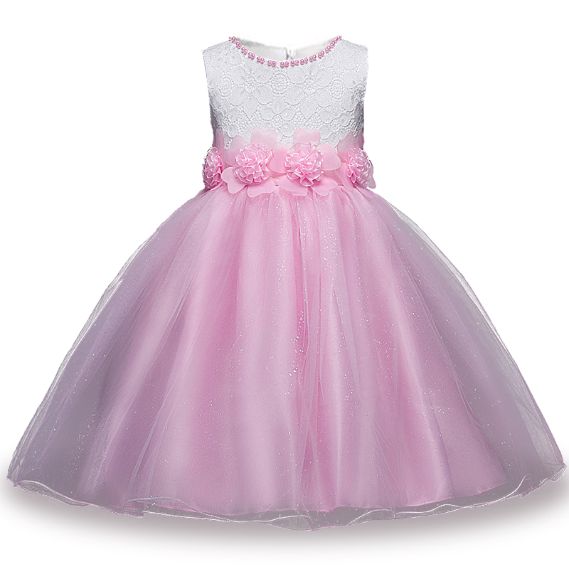 White&Pink 2017 New Summer Flower Kids Party Dresses For Weddings Children's Princess Girl Evening Prom Toddler Girl Clothes