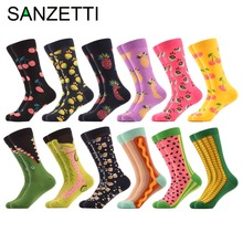 SANZETTI 12 pairs/lot Funny Pattern British Watermelon Corn Dog Combed Cotton Socks