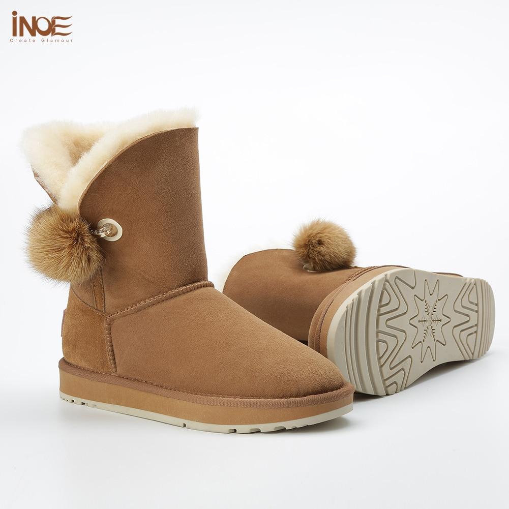 INOE kryształ Rhinestone Pom pom broszka kobiet buty zimowe buty futra lisa piłka zamszowe kożuch skórzane z wełny futro pokryte śnieg buty w Buty do połowy łydki od Buty na  Grupa 3