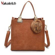 Горячая Распродажа Сумочка женская повседневная сумка женский большой плеча сумки высокого качества Искусственная кожа Сумочка с меховым помпоном KL274
