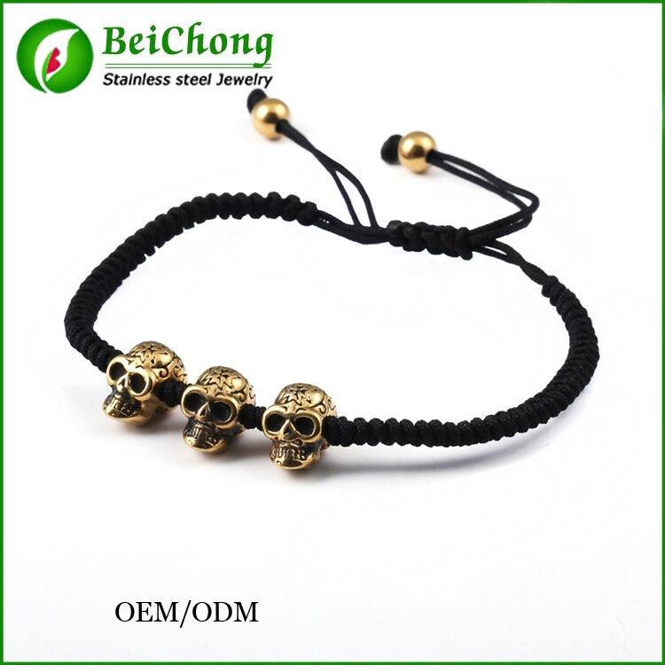10 pièces BC Tissé À La Main Rétro Punk Style bracelet à breloques or crâne bracelet corde Noire northskull bracelet hommes bracelet