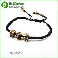 10pcs BC Handmade Weave Retro Punk Style Charm Bracelet Gold Skull Bracelet Black Rope Northskull Bracelet