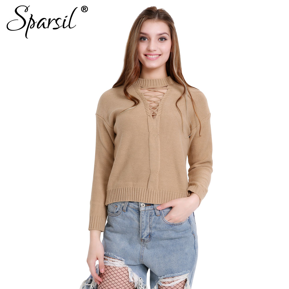 Sparsil Women Halter Lace Up O-Neck Knitted Sweater Three Quarter Short Design Pullovers Solid Color Female All Match Knitwear