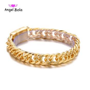 10pcs/lot Bicycle Chain Wristband Fashion New Link Chain Gold Buddha Bracelet Wome Heavy 9MM Wide Mens Buddha Wristband