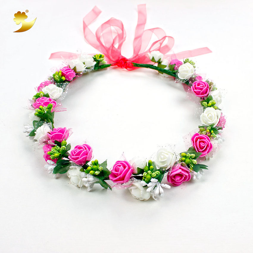 XinYun Headband For Women Bridal Crown Wedding Hair Accessories Adjustable Flower Crown Kids Rose Headwear Flower Head Wreath multiple color mix dot birdcage veil 25cm width millinery veils diy hair accessories hat bridal wedding netting party headwear