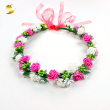 XinYun Headband For Women Bridal Crown Wedding Hair Accessories Adjustable Flower Crown Kids Rose Headwear Flower Head Wreath