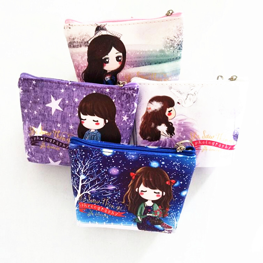 M222 2017 Creative Printing Women Purses Cute Close Contact With Swans,Girl Under The Stars,The Girl Among The Flowers Card Bag