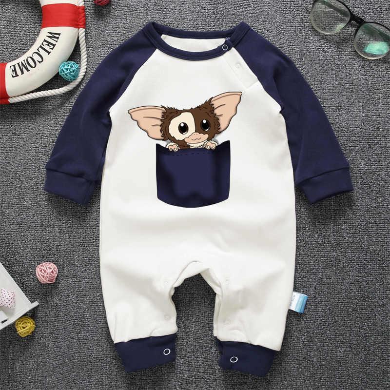 Футболка с длинным рукавом для новорожденных комбинезон с принтом пижамы Детская Одежда для мальчиков и девочек комплект Gremlins с героями мультфильмов для малышей и новорожденных; Комбинезоны из хлопка