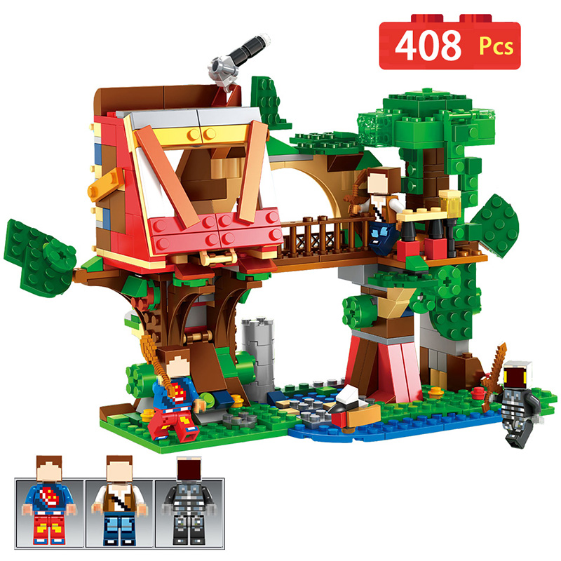 Classic Tree House My World Minecrafted Building Blocks Bricks Toys Compatible LegoINGLYS Technic Toys For Children lele my world power morse train building blocks kits classic educational children toys compatible legoinglys minecrafter 541 pcs