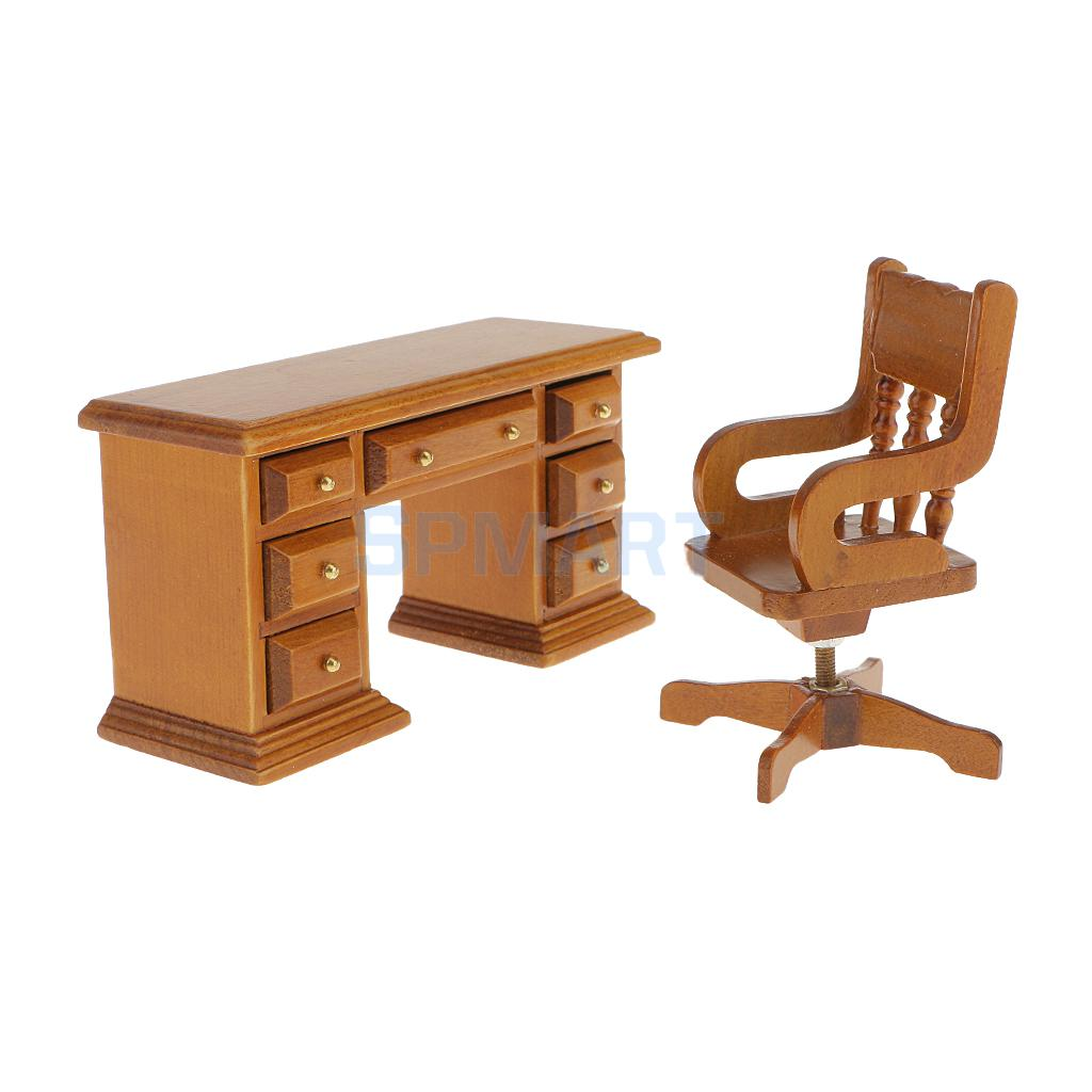 1:12 Scale Dolls House Miniature Office Study Furniture Walnut Wooden Swivel Chair & Study Desk/Computer PC Table