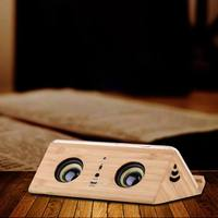 Hot Wooden Retro Induction Speaker Waterproof Drop proof Call Function mini Mobile Phone Bracket Smart Speaker