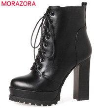 MORAZORA 패션 신발 여성 플랫폼 부츠 봄 가을 발목 부츠 여성을위한 최고 품질의 하이힐 신발 큰 크기 34 43