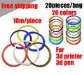 Full color de Alta qualidade Caneta Impressão 3D filamento PLA 1.75mm 10 M 20 Pçs/lote MakerBot 3D Impressora de Material plástico/RepRap/Mendel