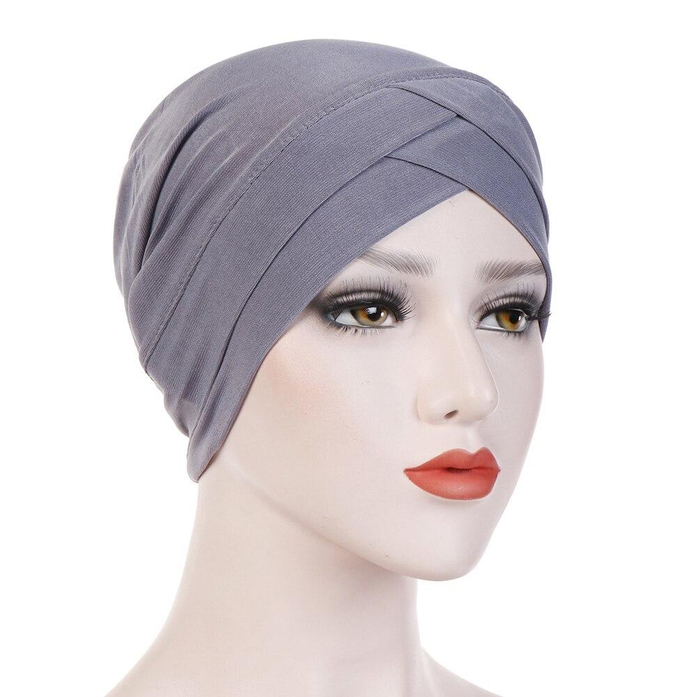 Женский хлопковый хиджаб, шарф, тюрбан, шапка, мусульманский головной платок, солнцезащитная Кепка, мусульманский Многофункциональный тюрбан, фуляр, femme musulman - Цвет: grey