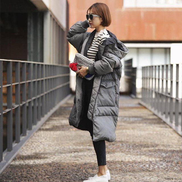 2017 Fashion Women Winter Long Down Jackets Warm Overcoat Loose Hooded Bread Coat Female Casual Parka Oversized Cotton Coat abner 2017 new winter loose long coat fashion women down cotton female warm parkas overcoat good quality free shipping