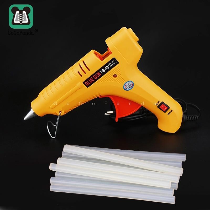 Free Shipping TG-10 60W 100W Double Power DIY Hot Melt Glue Gun Black Sticks Trigger Art Craft Repair Tool With Light