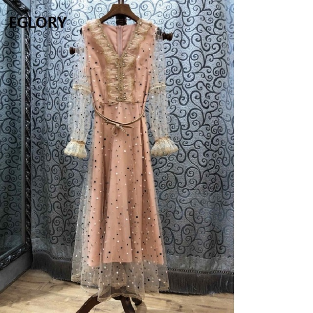 Top Quality New 2019 Spring Summer Wedding Party Maxi Dress Ladies V-Neck Tulle Mesh Lace Patchwork Pink Black Long Dress Sweet