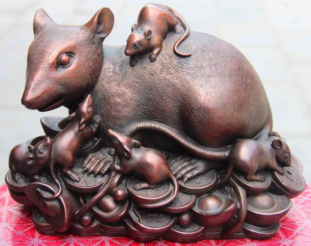 7 China Home Feng shui Copper Zodiac Rat Mice Mouse mother Son Money Coin Statue7 China Home Feng shui Copper Zodiac Rat Mice Mouse mother Son Money Coin Statue